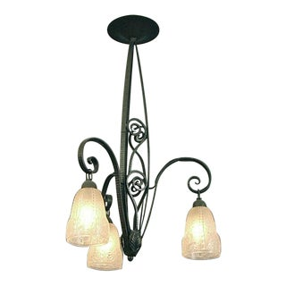 Wrought Iron 3-Light French Art Deco Chandelier With Glass Shades For Sale