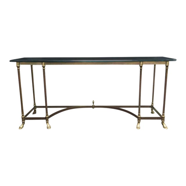 Glass Top & Brass Console - Image 1 of 5