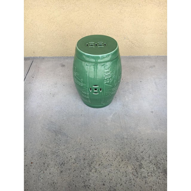 Mid 20th Century Vintage Contemporary Chinoiserie Green Ceramic Garden Stool For Sale - Image 5 of 9