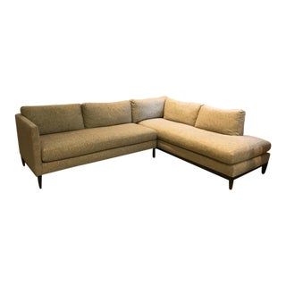 Lee Industries Oatmeal Fabric Upholstered Sectional Sofa