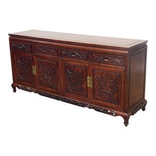 Chinese Rosewood Vintage 4 Door Sideboard For Sale