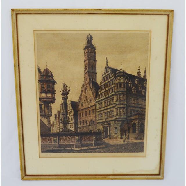 Vintage Framed Hand Colored Etching of Rothenburg St. George Brunnen by German artist Ernst Geissendorfer Artist Signed...