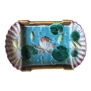 Late 19th Century Majolica Serving Ice Cream Tray / Platter - Lily Pad Pattern For Sale