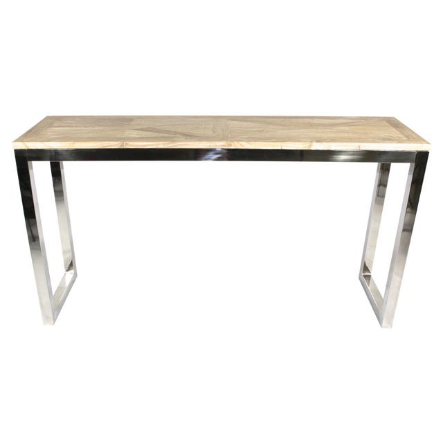 Modern Chrome and Wood Midcentury Inspired Console - Image 1 of 4