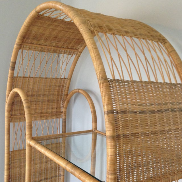 Mid-Century Rattan & Glass Etagere / Bookcase - Image 5 of 8