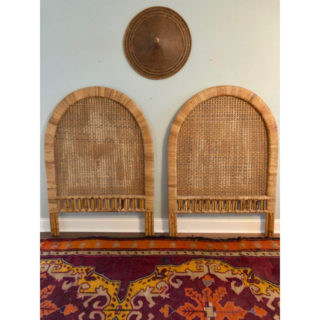 Vintage Mid-Century Arched Cane Rattan Twin Headboards - a Pair - Image 7 of 9