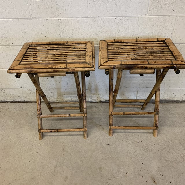 Wood Vintage Burnt Bamboo Folding Tray Tables- a Pair For Sale - Image 7 of 13