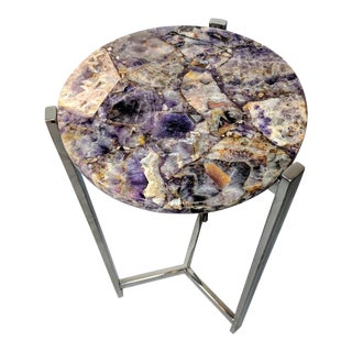Organic Modern Amethyst & Chrome Side Table For Sale