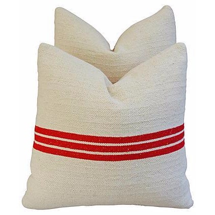 Triple Red Stripe French Textile Pillows - A Pair - Image 1 of 7