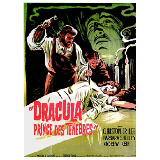"1966 ""Dracula Prince of Darkness"" Original Movie Poster in French - Image 1 of 2"
