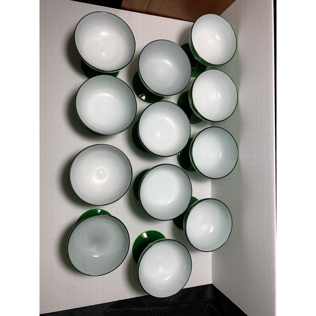 1960s Carlo Moretti Emerald Green and White Cased Glass Champagne Goblets - Set of 12 For Sale - Image 12 of 13