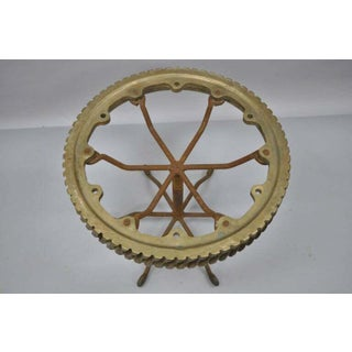 20th Century Brutalist Bronze Elevator Worm Gear Round Side Table Preview