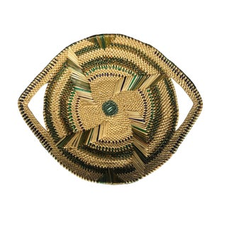 Boho Chic Round Green and Natural Woven Tribal Bowl Basket For Sale