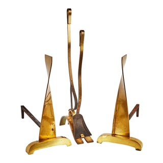 Donald Deskey Brass Fireplace Tool Set & Andirons For Sale