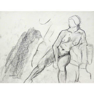Rafael Soyer Seated Nude Drawing For Sale