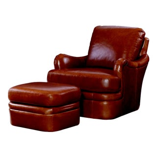 Century Furniture Whitby Chair with Ottoman, Honey Leather - 2 Pieces For Sale