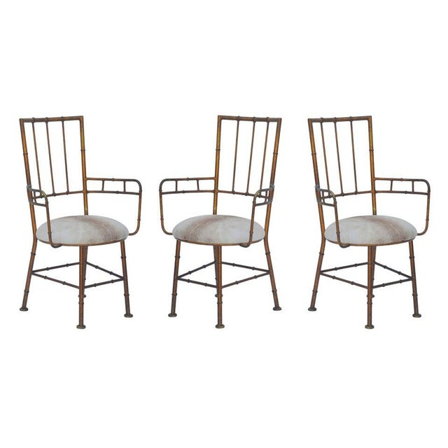 Set of 3 Iron and Calf Hide Armchairs For Sale - Image 11 of 11