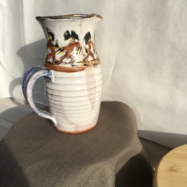 Early 21st Century Folk Art White Pottery Pitcher For Sale - Image 5 of 10