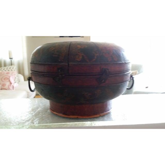 Tibetan Round Wood Box - Image 9 of 10