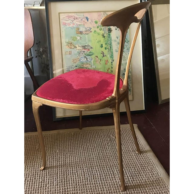 Vintage Hollywood Regency Gilt Metal Chair For Sale - Image 4 of 10