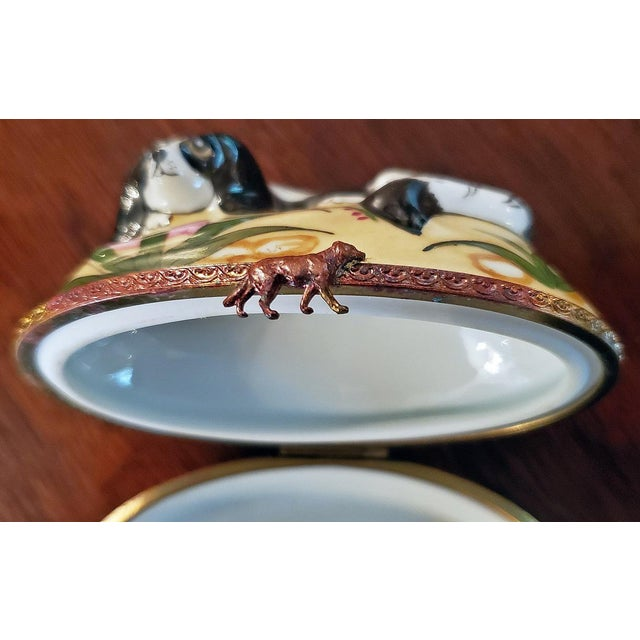 Vintage Limoges King Charles Spaniel Ring Box For Sale - Image 9 of 13