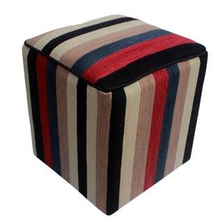 Arshs Donita Black/Ivory Kilim Upholstered Handmade Ottoman For Sale