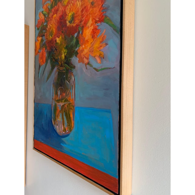 "2010s ""Orange Dahlias"" Oil Painting For Sale - Image 5 of 8"