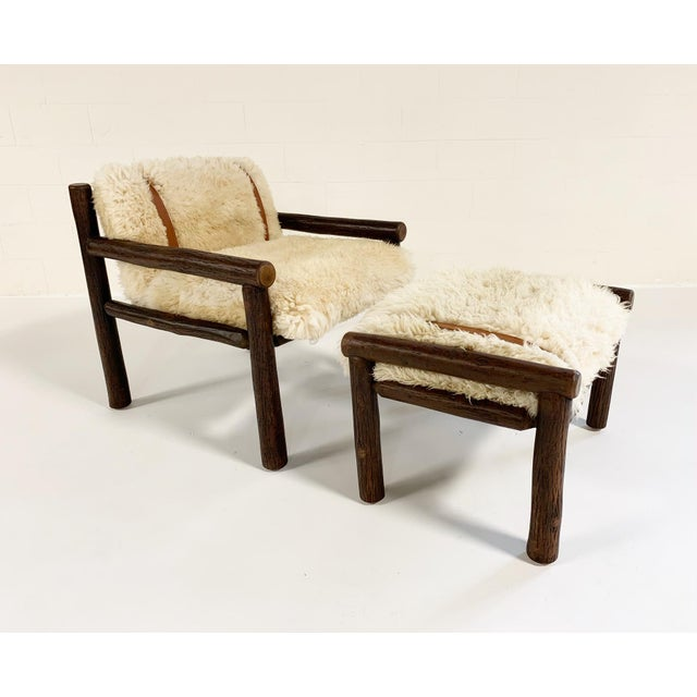 Modern Forsyth X Old Hickory Butte Chair and Ottoman With Custom California Sheepskin Cushions and Loro Piana Buffalo Leather For Sale - Image 3 of 11