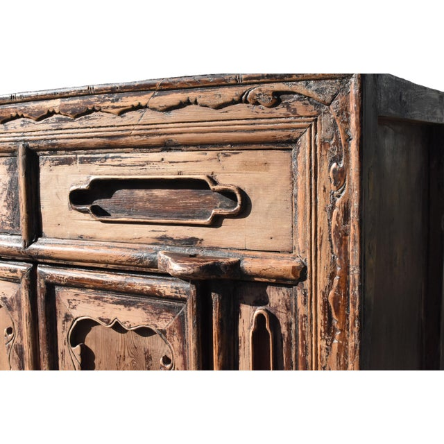 Mid 19th Century 19th Century Antique Rustic Northern Chinese Cabinet For Sale - Image 5 of 13