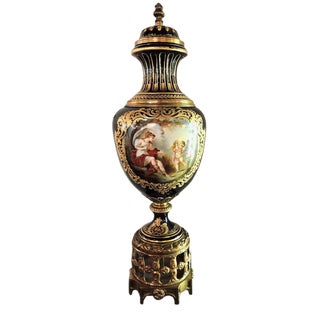 T. Quentin Decorated French Sevres-Style Porcelain and Gilt Bronze Covered Urn For Sale