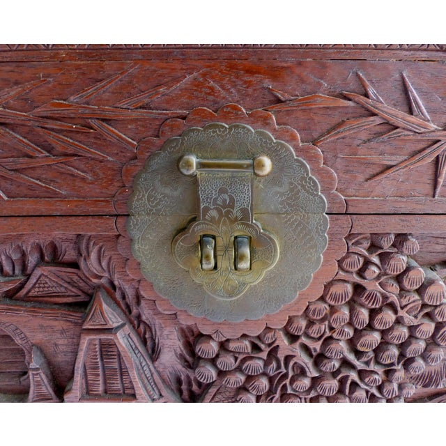Brass Chinese Teak & Cedar Carved Chest For Sale - Image 7 of 13