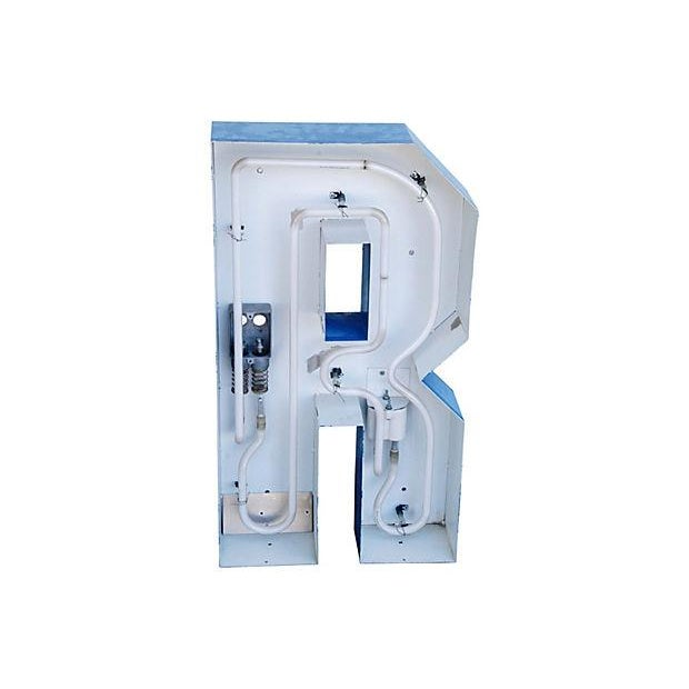 Lg. Industrial Blue & White Metal Marquee Letter R - Image 5 of 6