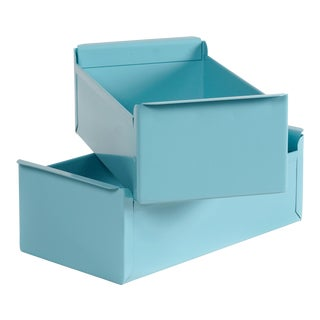 1950s Steel Card File Drawers Refinished in Tiffany Blue, Two Available