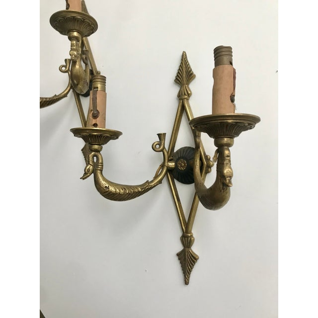 French Pair of Antique French Brass Sconces For Sale - Image 3 of 8