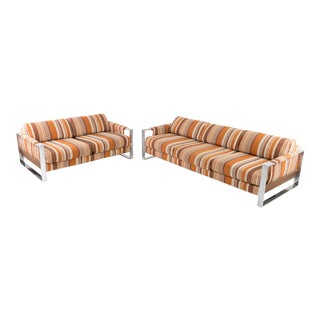 Adrian Pearsall for Craft Associates 70s Pattern Fabric Chrome and Wood Sofa and Loveseat For Sale