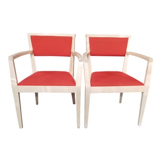 Transitional Teknion Burnt Orange Wood Guest Chairs - a Pair