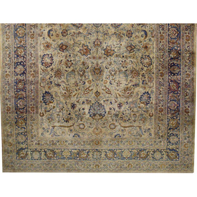 Industrial Antique Persian Mashad Rug with Modern Style in Soft Colors For Sale - Image 3 of 5