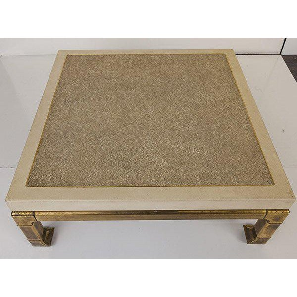 Boho Chic Mastercraft Coffee Table With Faux Snake Skin Embossed Leather and Hefty Brass Legs For Sale - Image 3 of 10