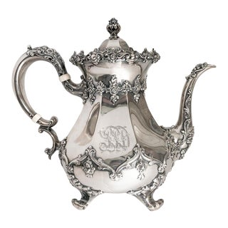 Antique Sterling Silver Teapot, Shreve Crump & Low For Sale
