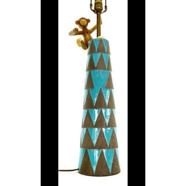 Raymor Turquoise Triangle Lamp - Image 2 of 6
