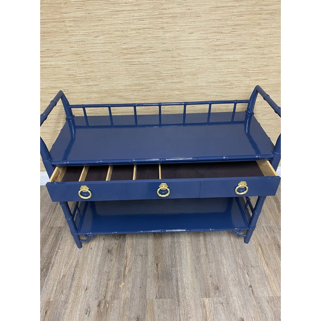 Vintage Thomasville Allegro Faux Bamboo Bar Cart Server For Sale In Raleigh - Image 6 of 8