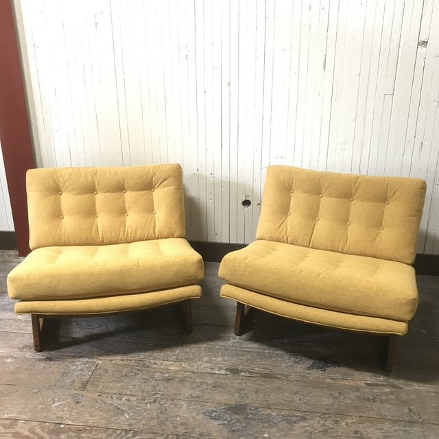 Mid-Century Modern Sled Base Lounge Chairs - A Pair - Image 3 of 11