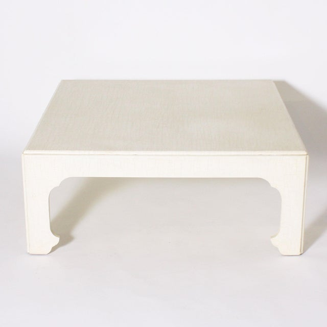 1970s White Ivory Lacquered Crackle Coffee Table For Sale In Dallas - Image 6 of 6