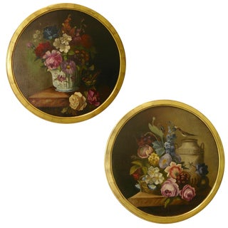 1880 French Provincial Round Still Life Oil Paintings in Gilt Frames - a Pair For Sale