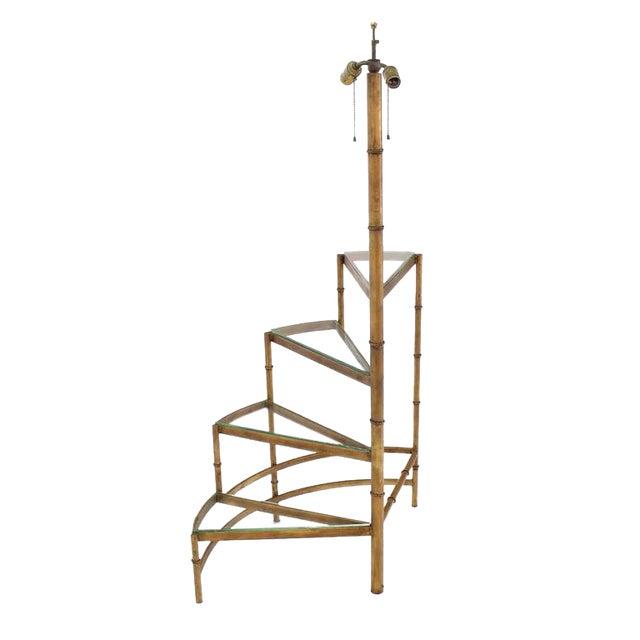 Mid-Century Modern Step Shelves Faux Bamboo Gilt Base Floor Lamp For Sale - Image 10 of 10