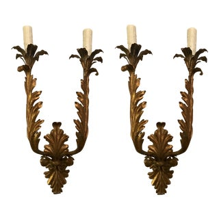 Palladio Italian Gilt Iron Sconces - A Pair