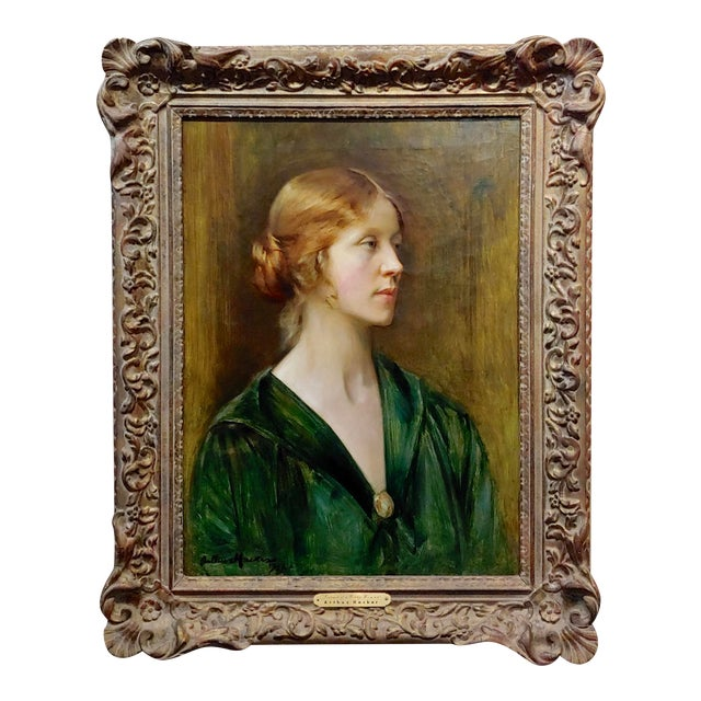 Arthur Hacker 1918 Portrait of a Sophisticated Red Haired Lady - Oil Painting For Sale