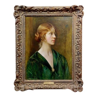 Arthur Hacker 1918 Portrait of a Young Lady - Impressionist Oil Painting For Sale