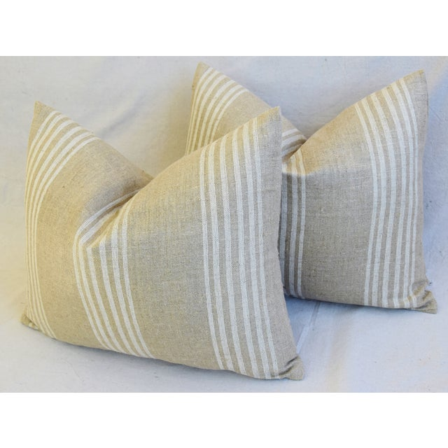 """White Tan & White French Cotton & Linen Ticking Feather/Down Pillows 21"""" X 16"""" - Pair For Sale - Image 8 of 12"""