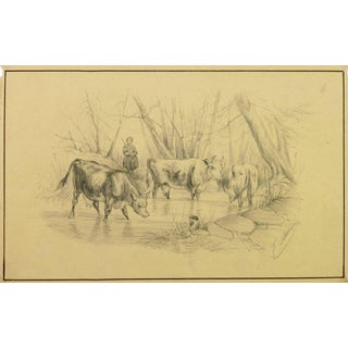 """19th C. French """"Watering Hole"""" Drawing For Sale"""